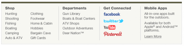 Cabelas Social Media Footer
